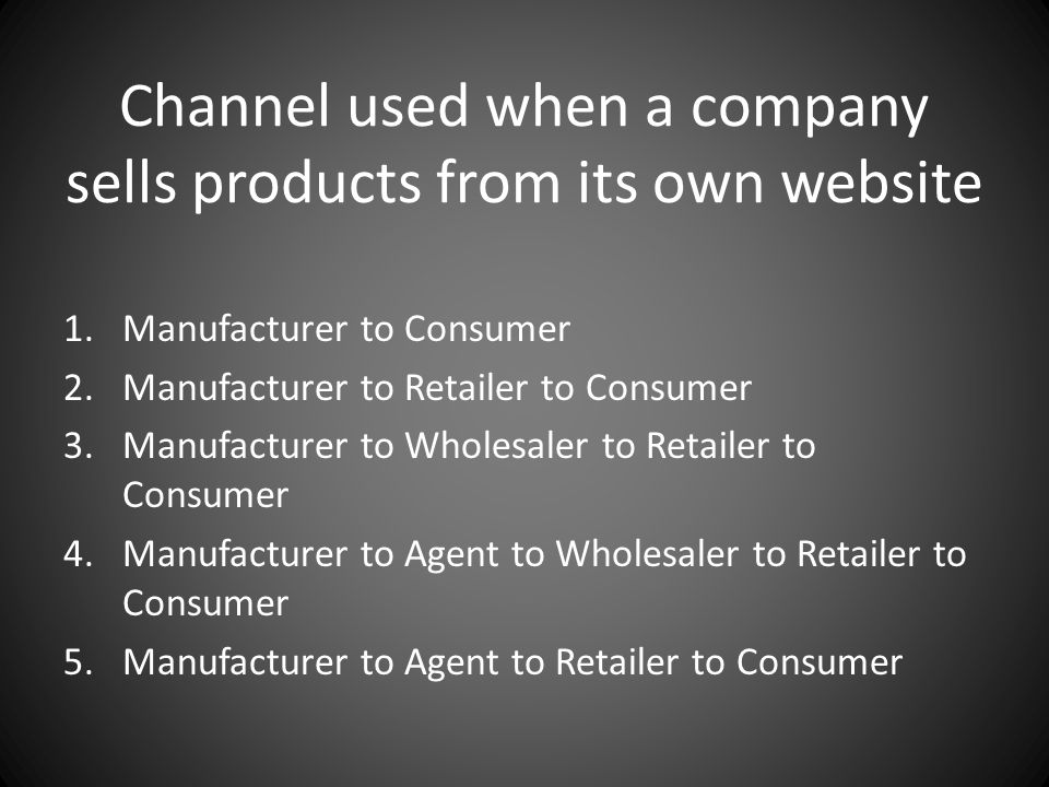 Channel used when a company sells products from its own website