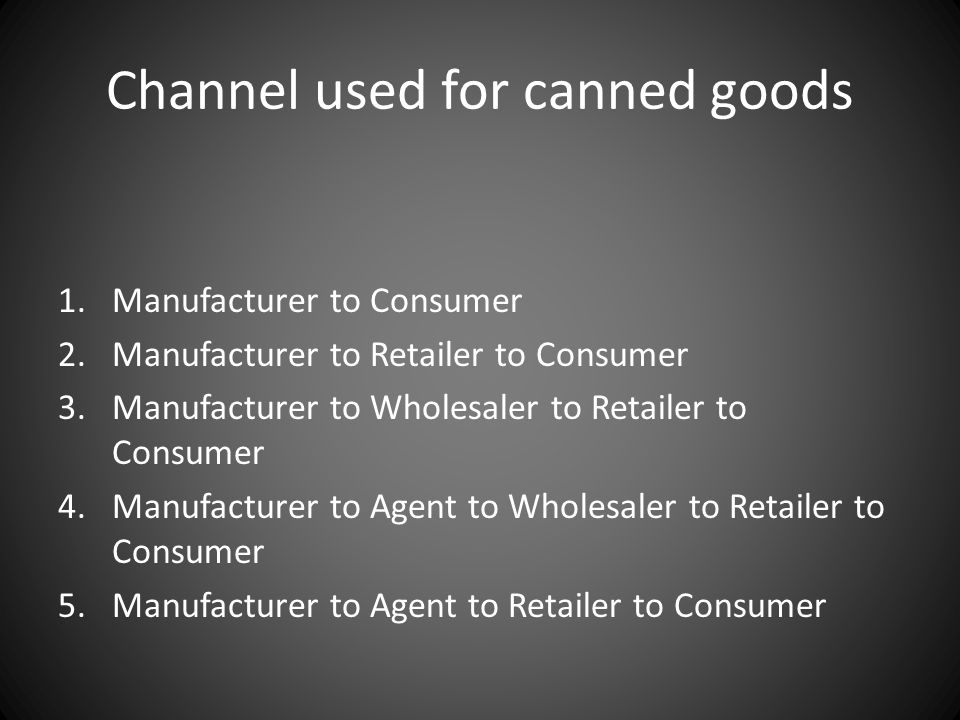 Channel used for canned goods