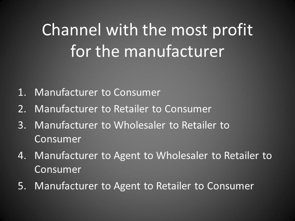 Channel with the most profit for the manufacturer