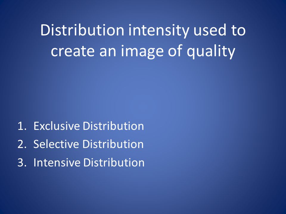 Distribution intensity used to create an image of quality