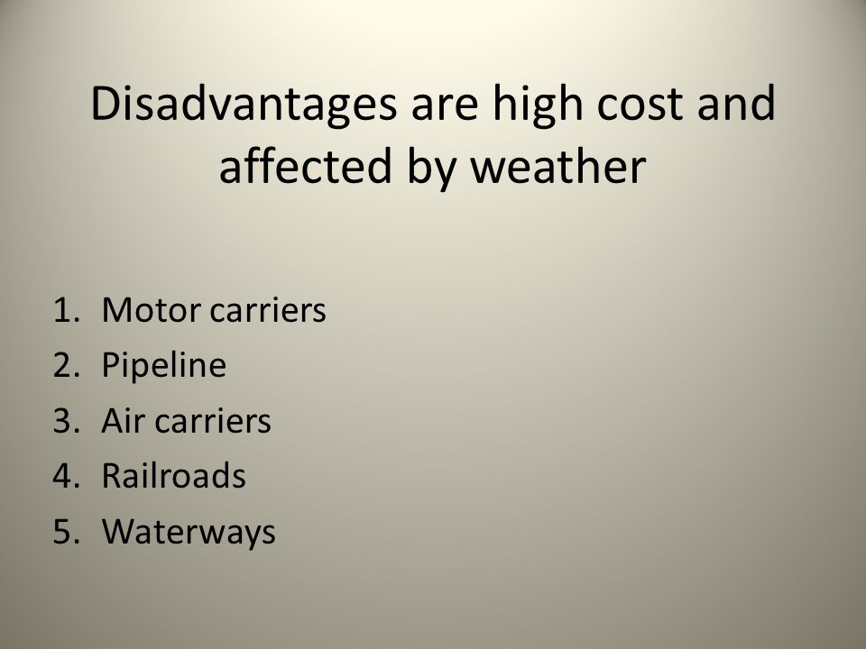 Disadvantages are high cost and affected by weather