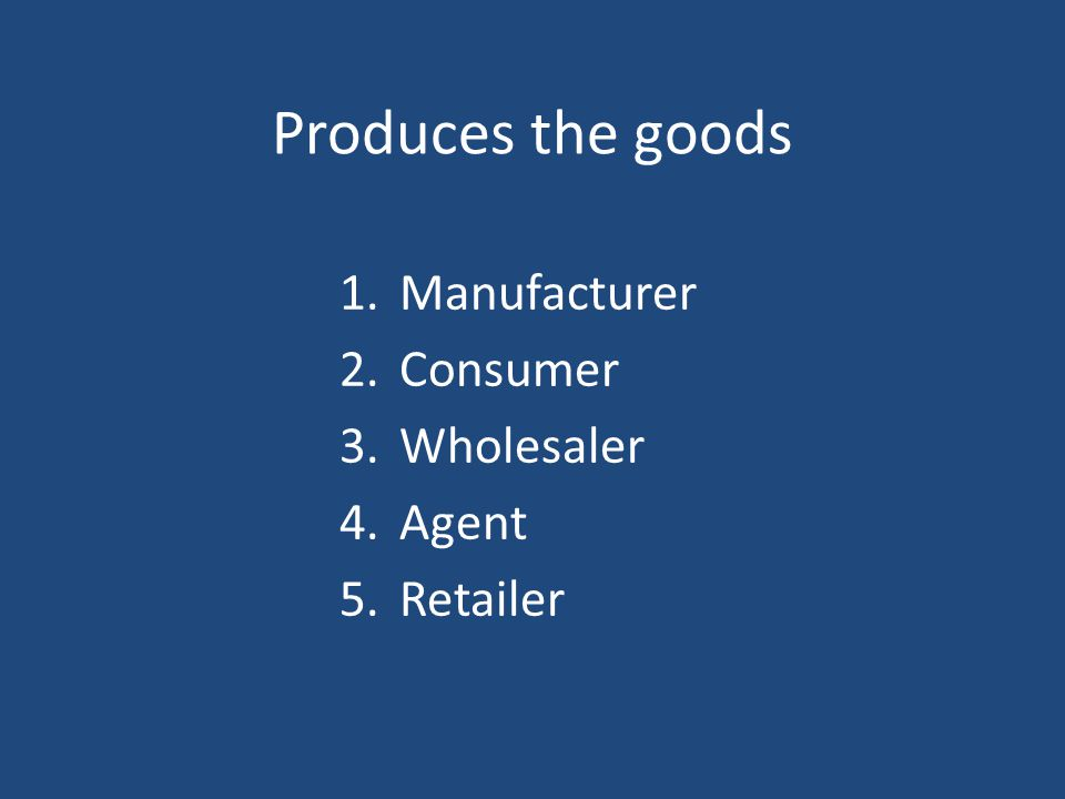 Produces the goods Manufacturer Consumer Wholesaler Agent Retailer