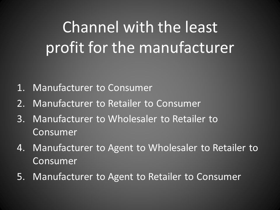 Channel with the least profit for the manufacturer