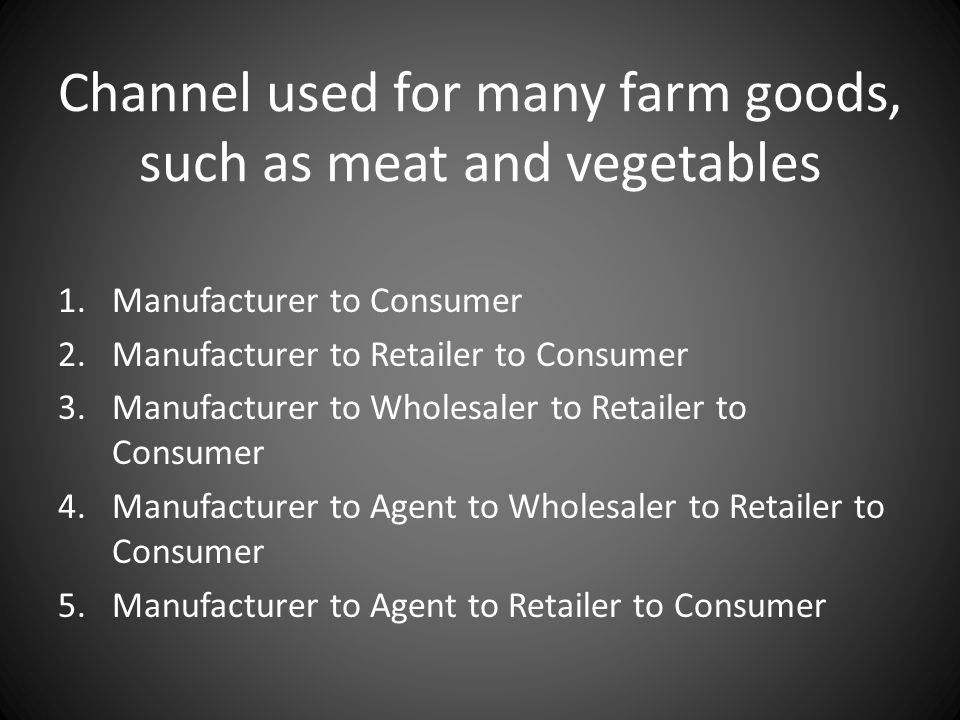 Channel used for many farm goods, such as meat and vegetables