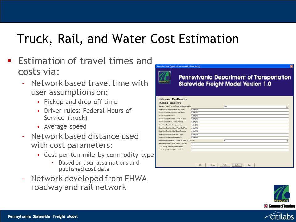 Truck, Rail, and Water Cost Estimation