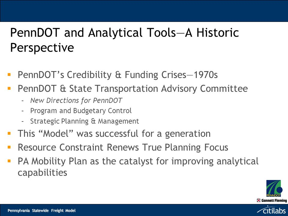 PennDOT and Analytical Tools—A Historic Perspective