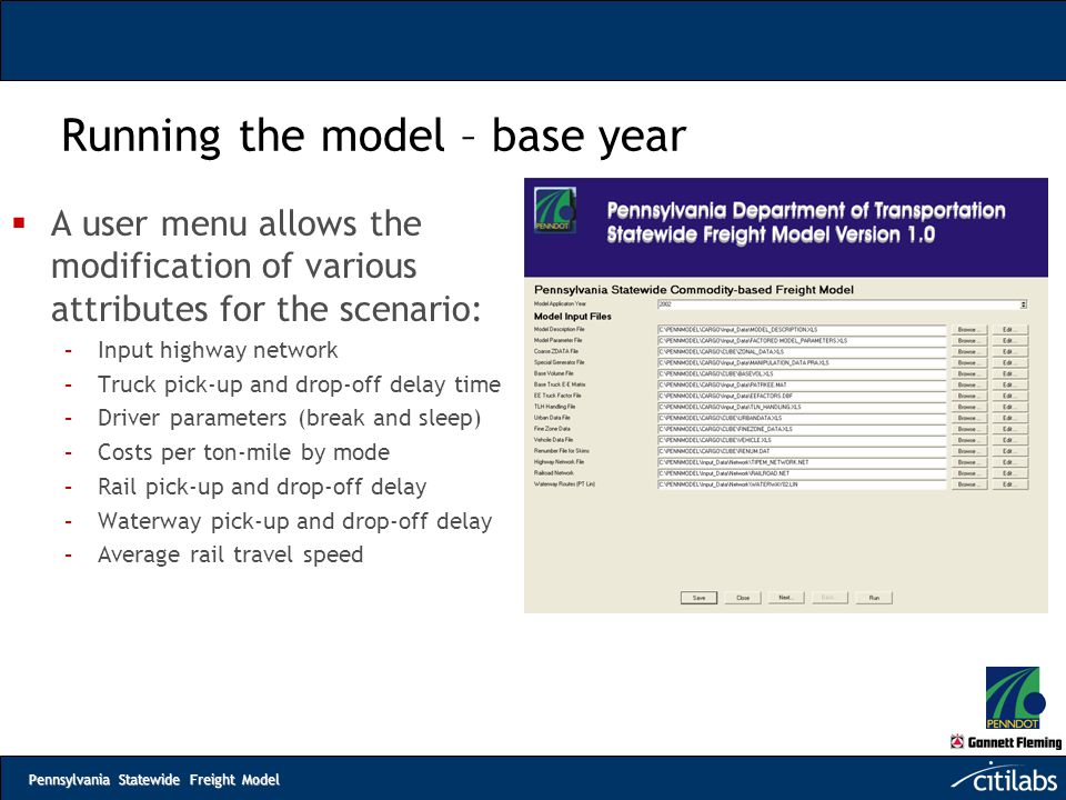 Running the model – base year