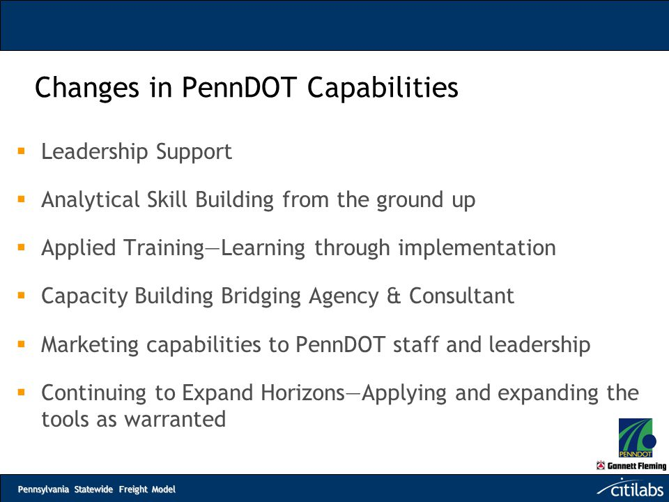 Changes in PennDOT Capabilities