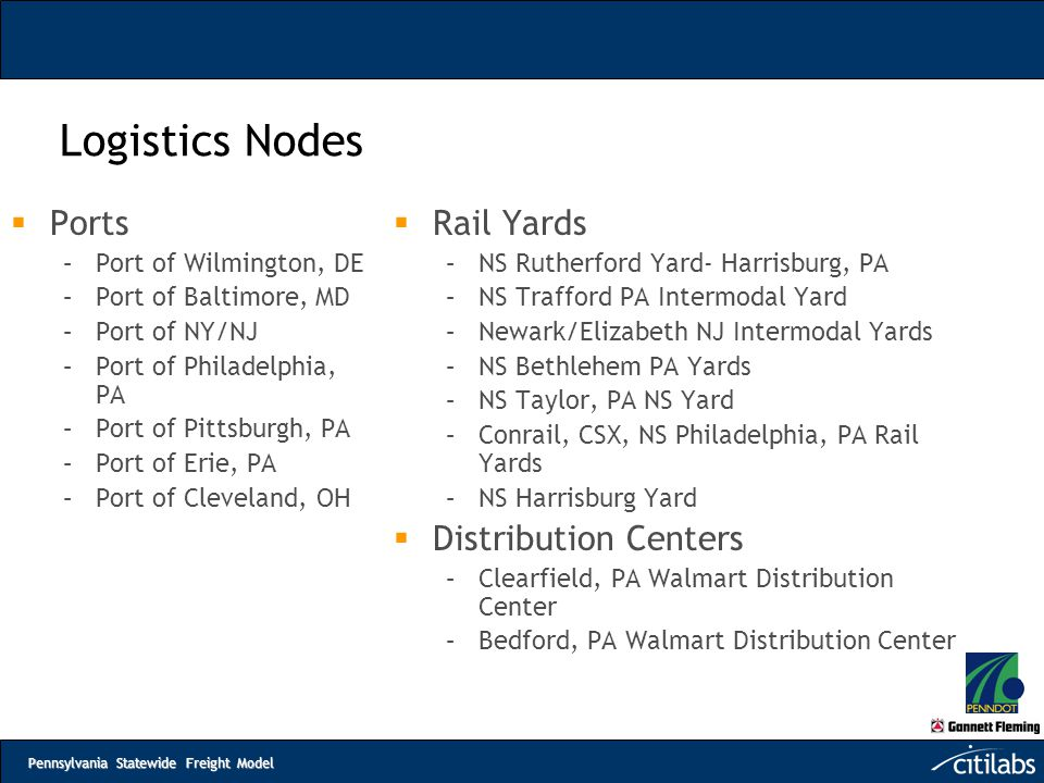 Logistics Nodes Ports Rail Yards Distribution Centers