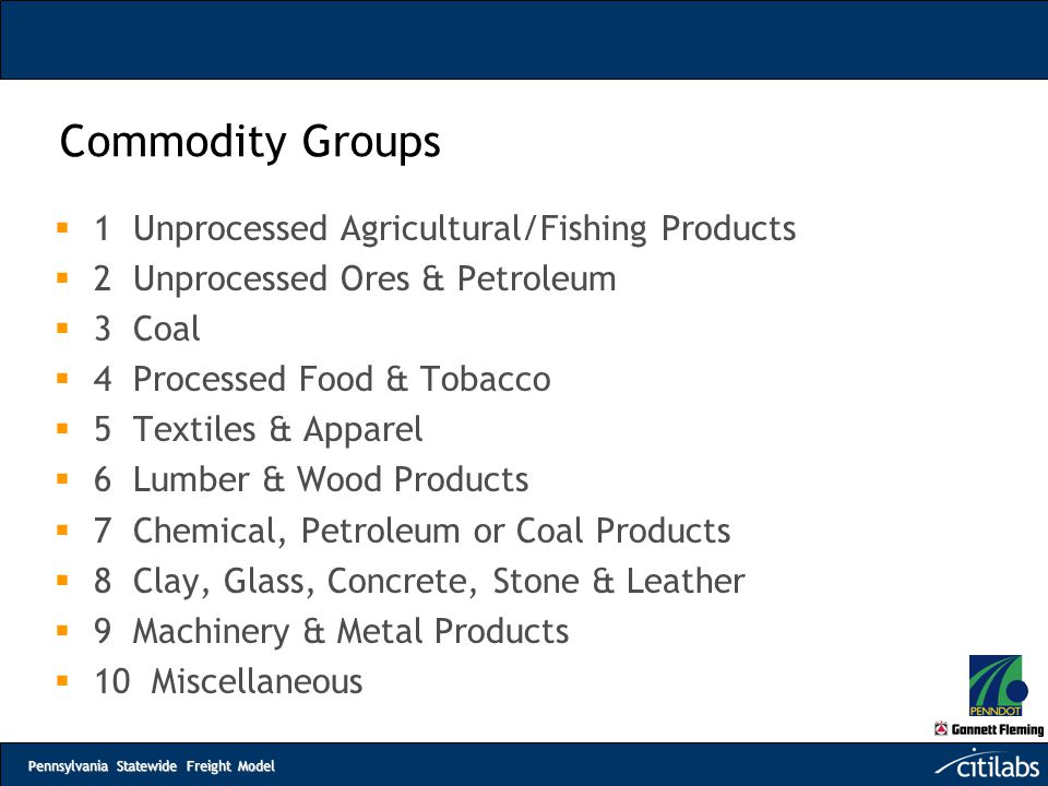 Commodity Groups 1 Unprocessed Agricultural/Fishing Products