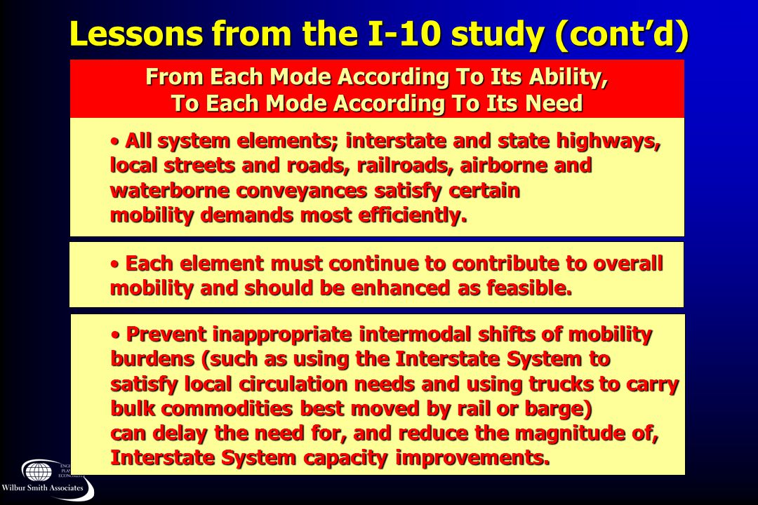 Lessons from the I-10 study (cont'd)