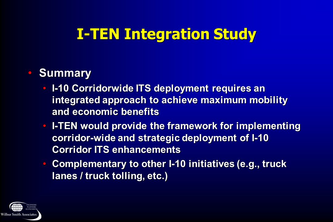 I-TEN Integration Study