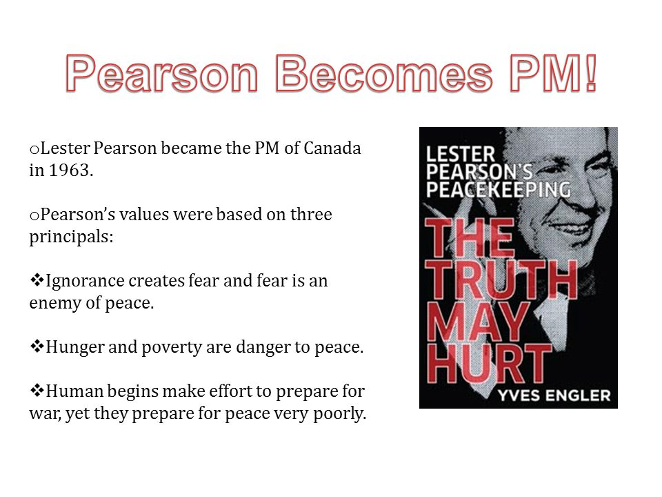 Pearson Becomes PM! Lester Pearson became the PM of Canada in 1963.