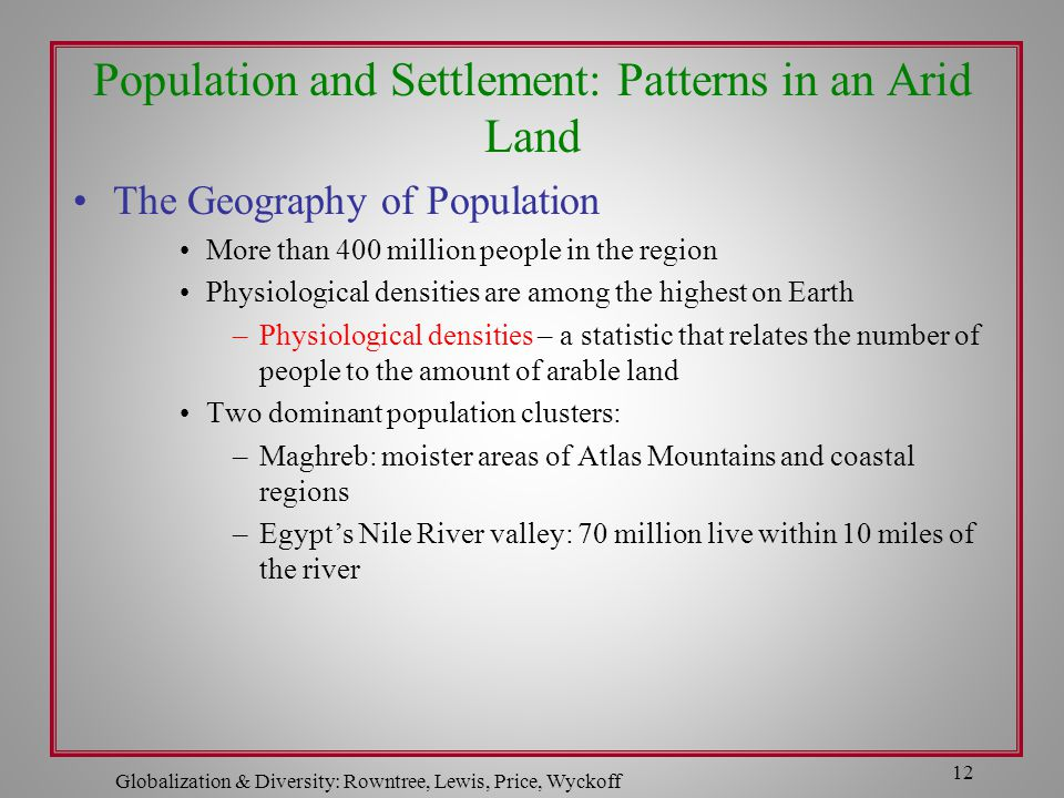 Population and Settlement: Patterns in an Arid Land