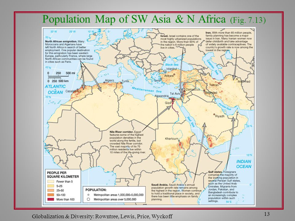 Population Map of SW Asia & N Africa (Fig. 7.13)