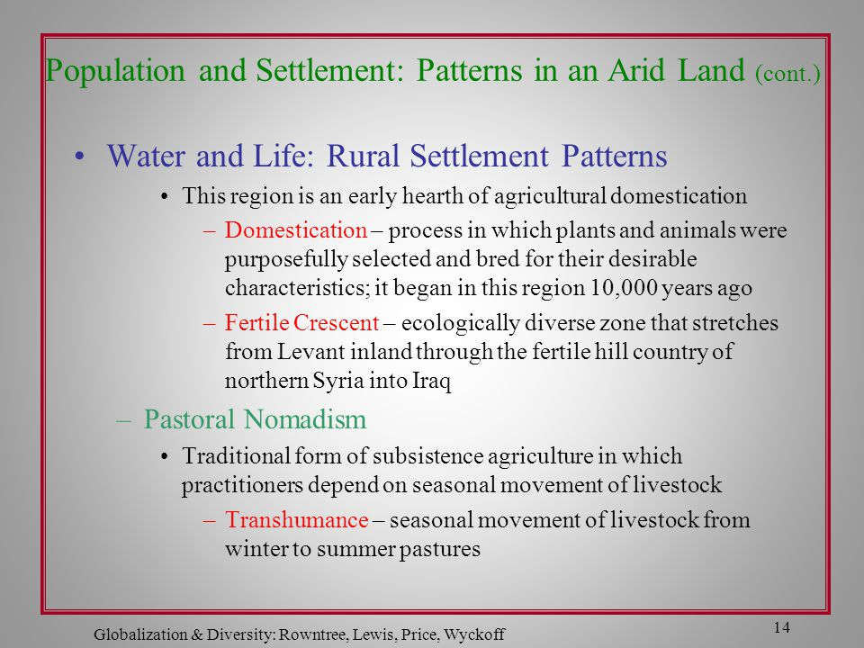 Population and Settlement: Patterns in an Arid Land (cont.)
