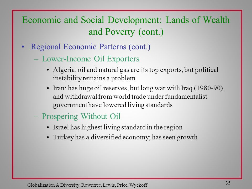 Economic and Social Development: Lands of Wealth and Poverty (cont.)
