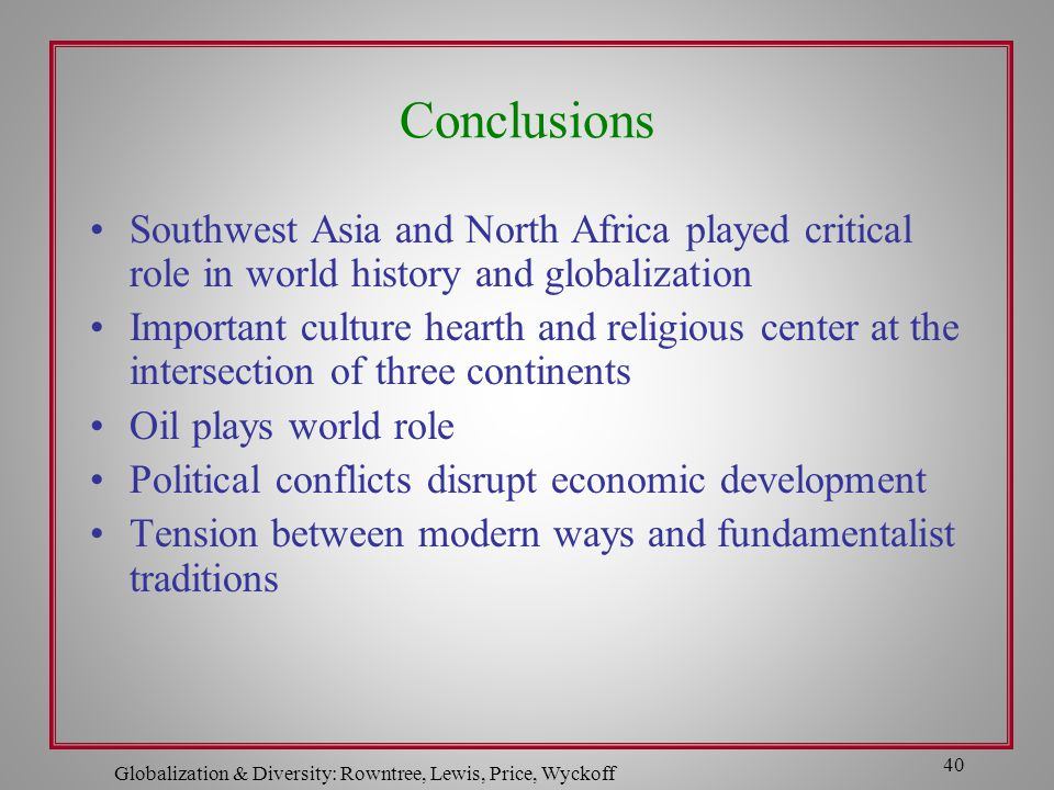 Globalization & Diversity: Rowntree, Lewis, Price, Wyckoff