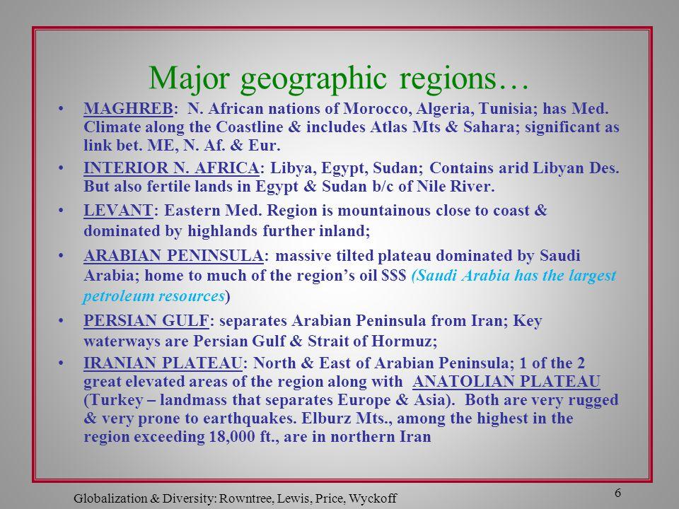 Major geographic regions…