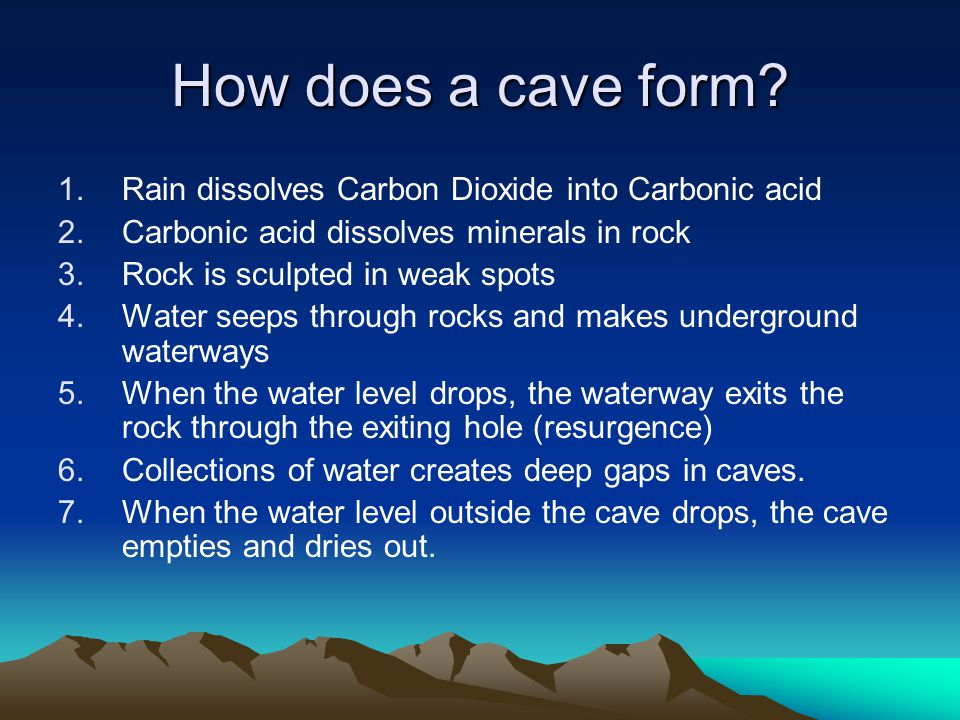 How does a cave form Rain dissolves Carbon Dioxide into Carbonic acid