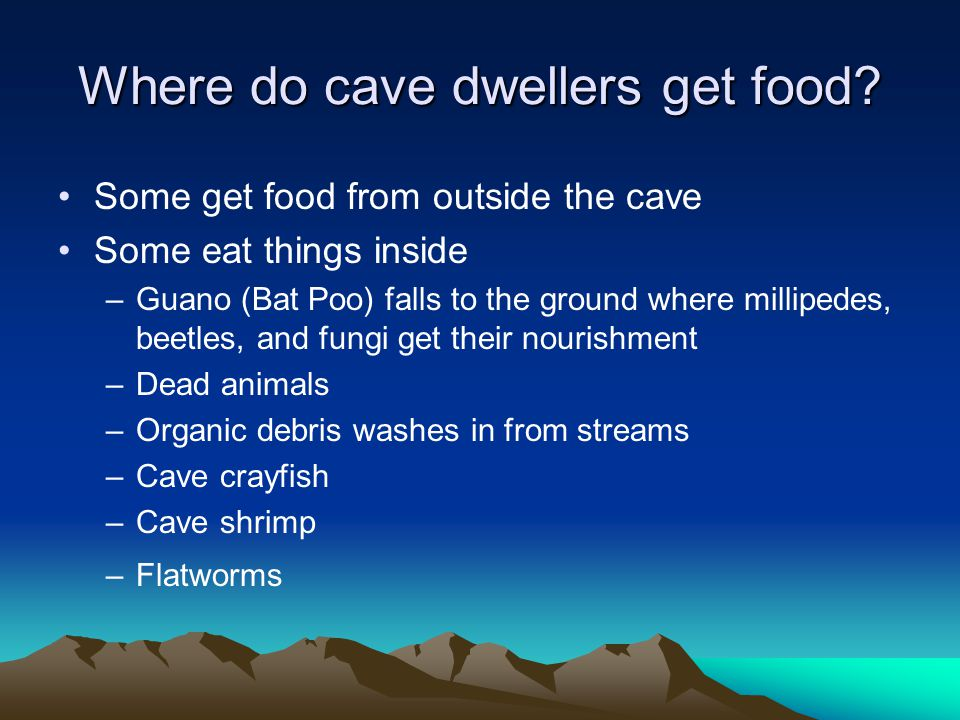 Where do cave dwellers get food