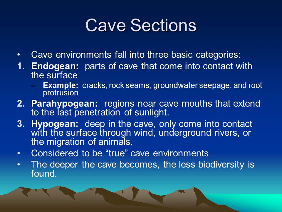 Cave Sections Cave environments fall into three basic categories: