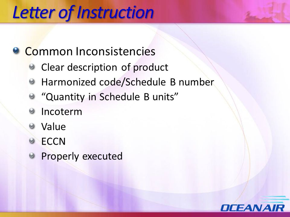 Letter of Instruction Common Inconsistencies