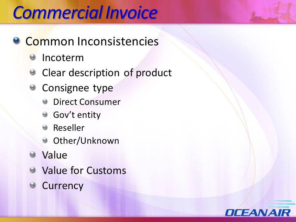 Commercial Invoice Common Inconsistencies Incoterm