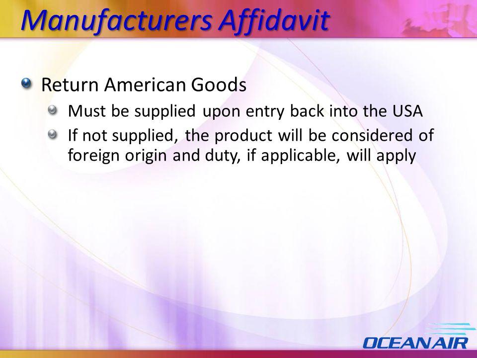 Manufacturers Affidavit