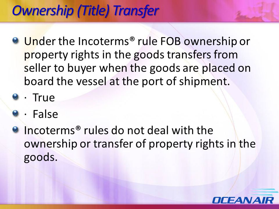 Ownership (Title) Transfer