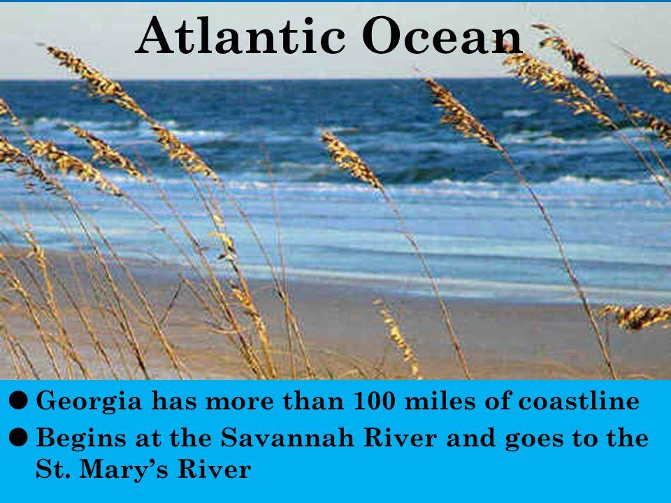 Atlantic Ocean Georgia has more than 100 miles of coastline