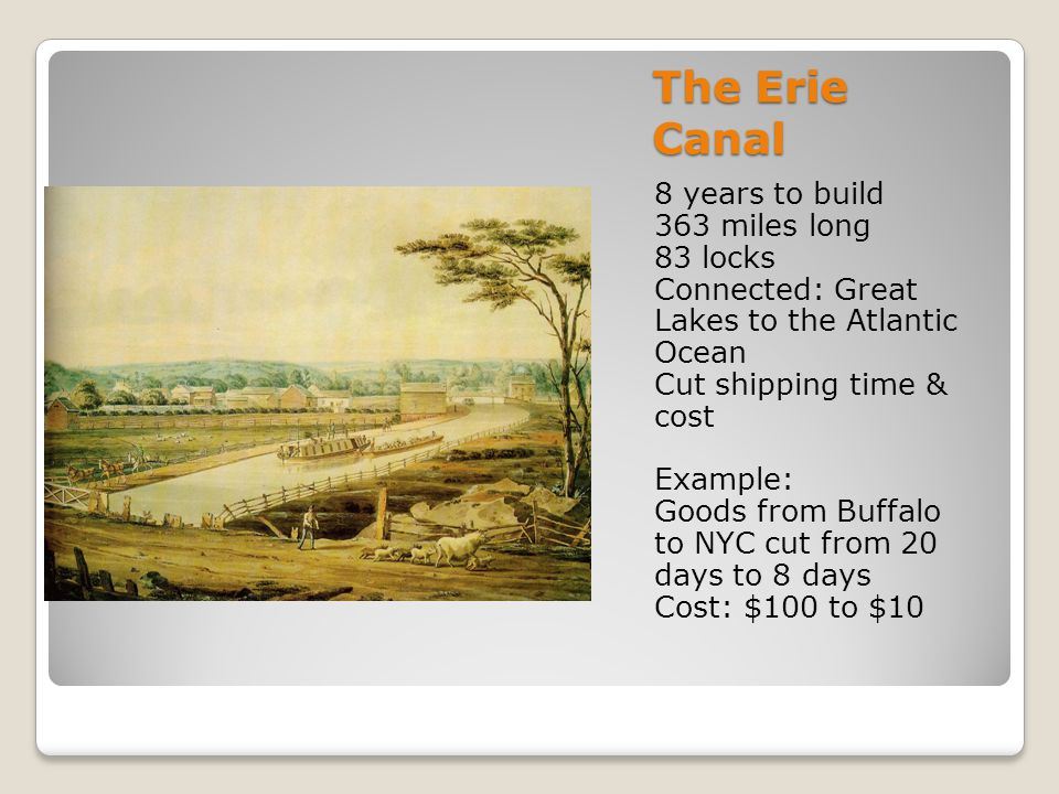 The Erie Canal 8 years to build 363 miles long 83 locks