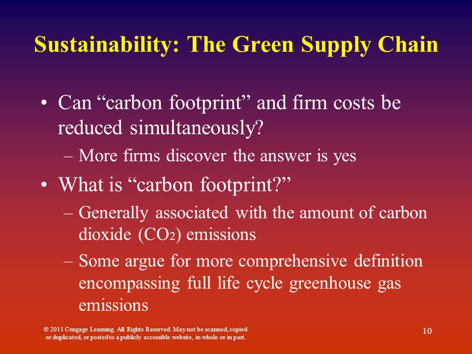 Sustainability: The Green Supply Chain