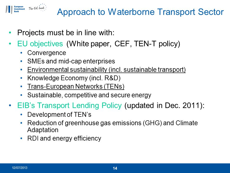 Approach to Waterborne Transport Sector
