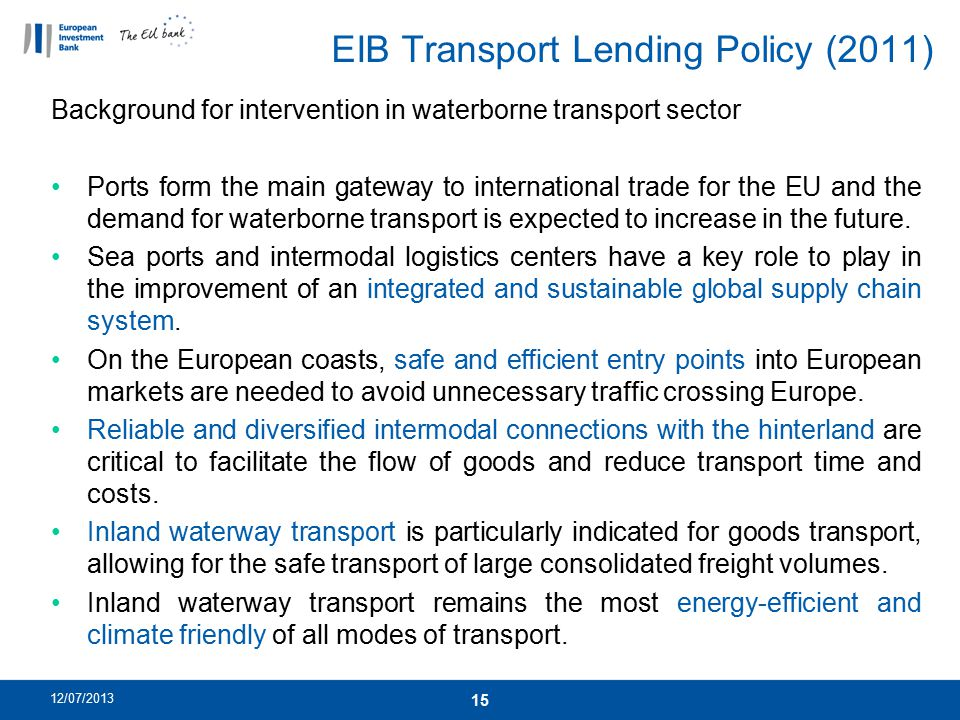 EIB Transport Lending Policy (2011)