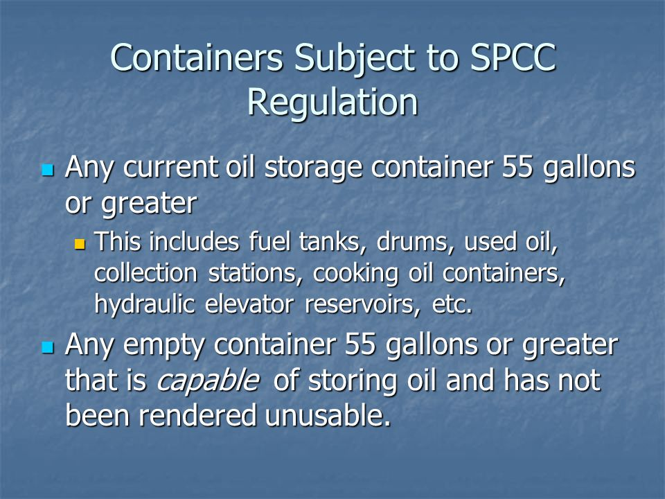 Containers Subject to SPCC Regulation