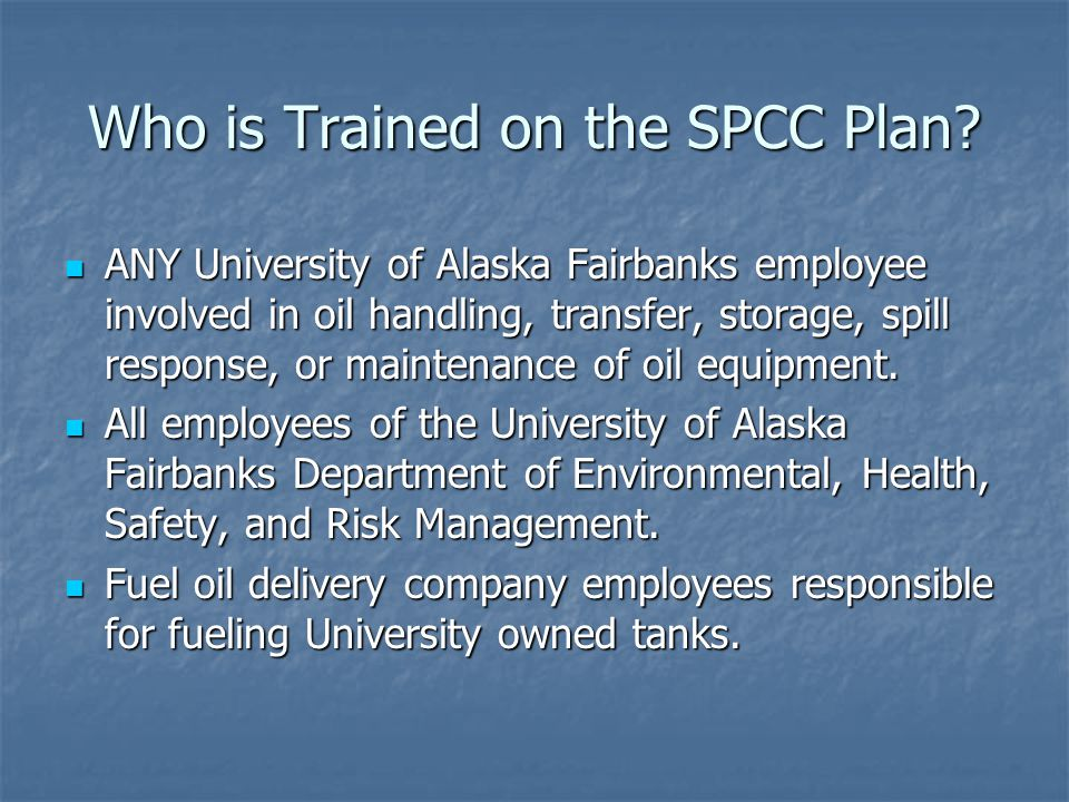 Who is Trained on the SPCC Plan