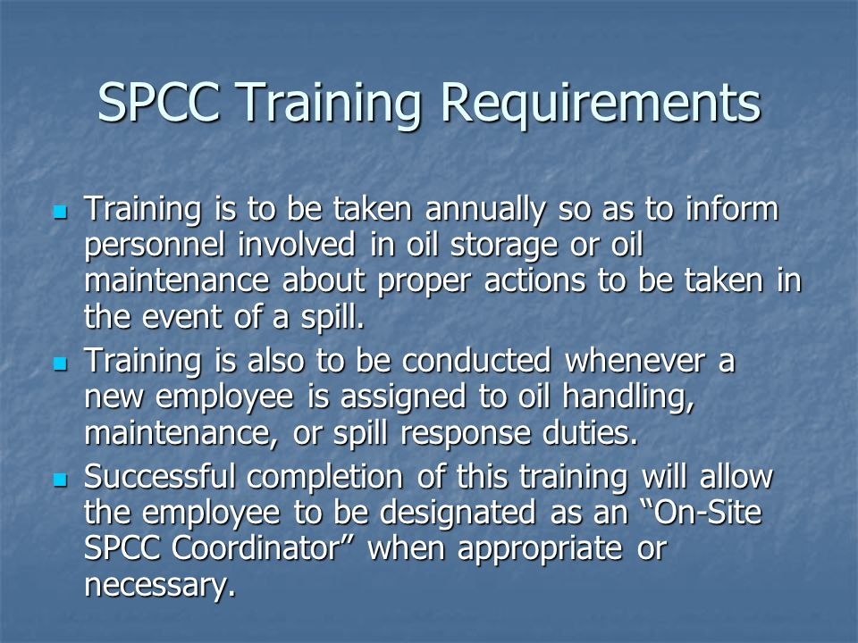 SPCC Training Requirements