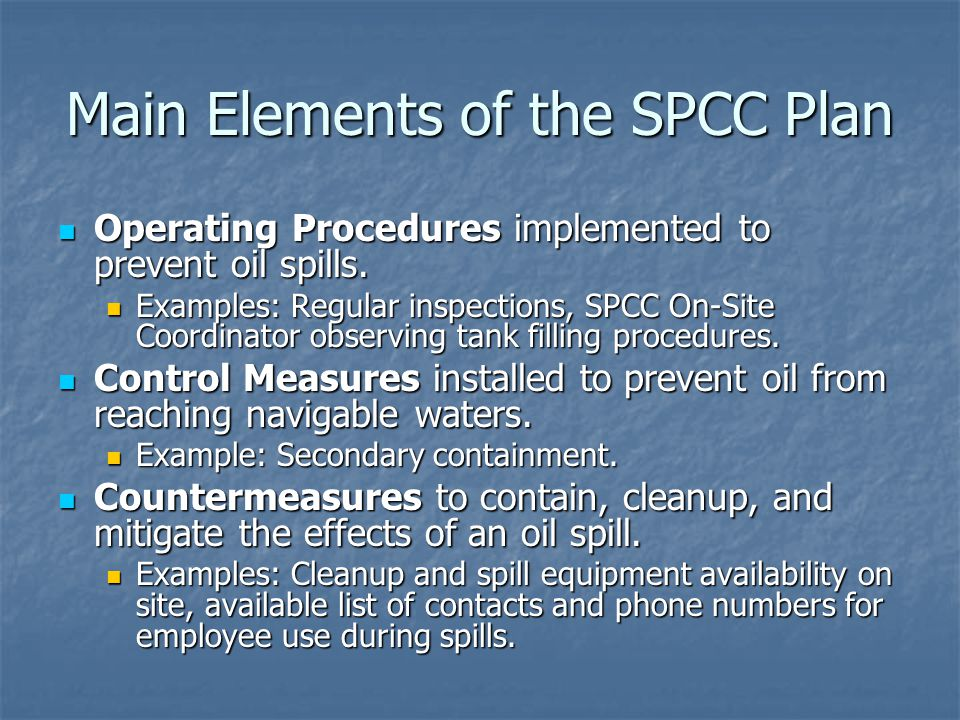 Main Elements of the SPCC Plan