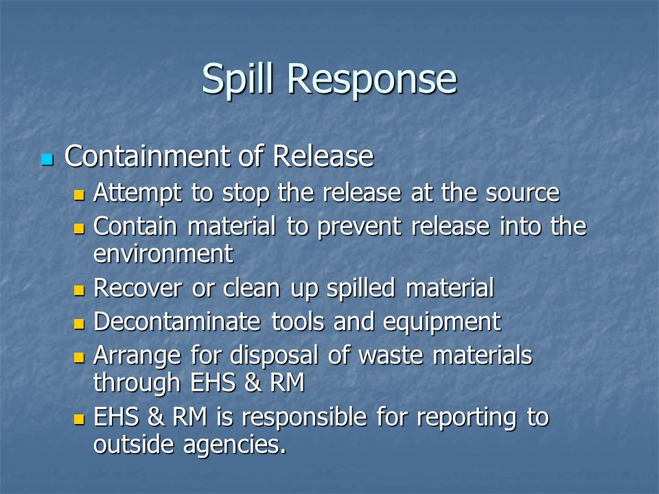 Spill Response Containment of Release