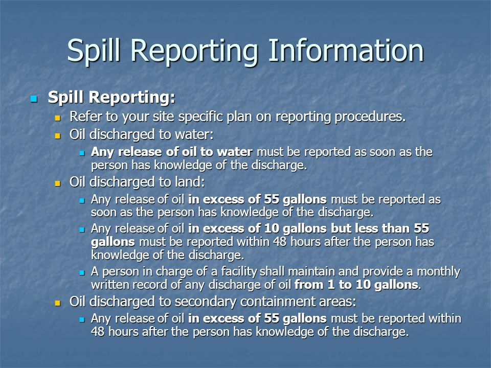 Spill Reporting Information