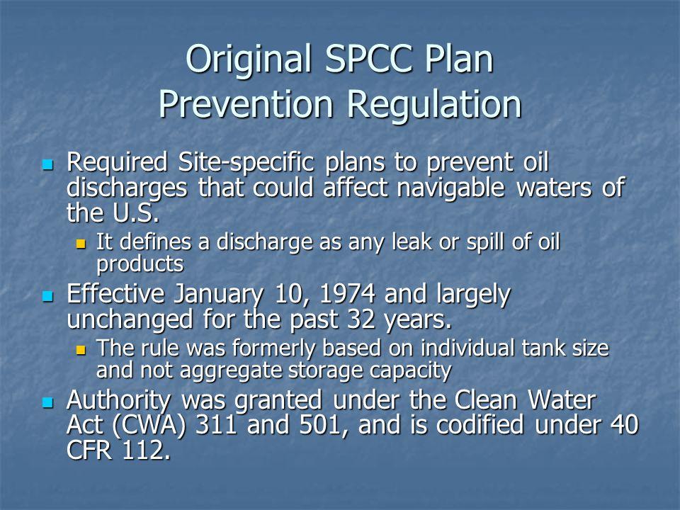 Original SPCC Plan Prevention Regulation