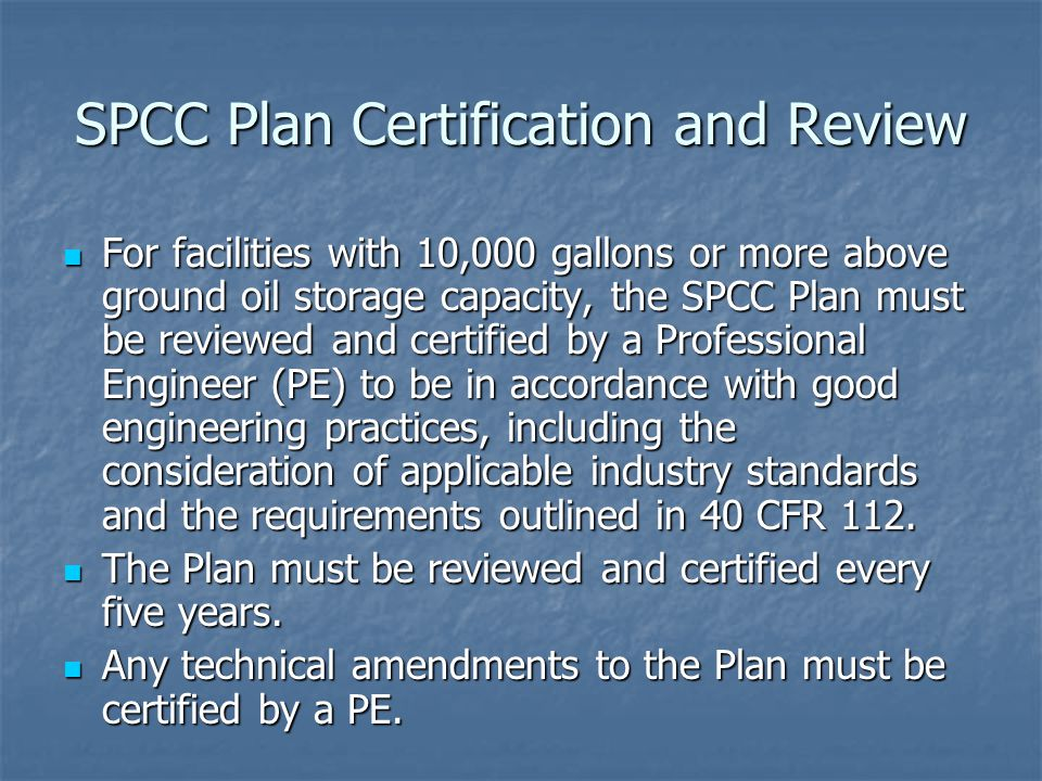 SPCC Plan Certification and Review