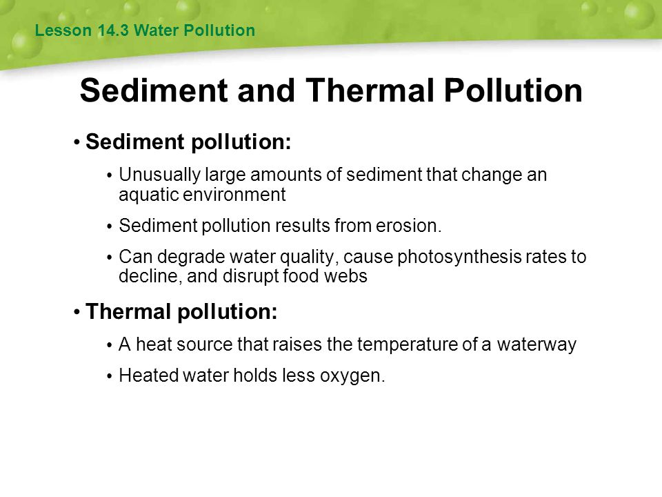 Sediment and Thermal Pollution