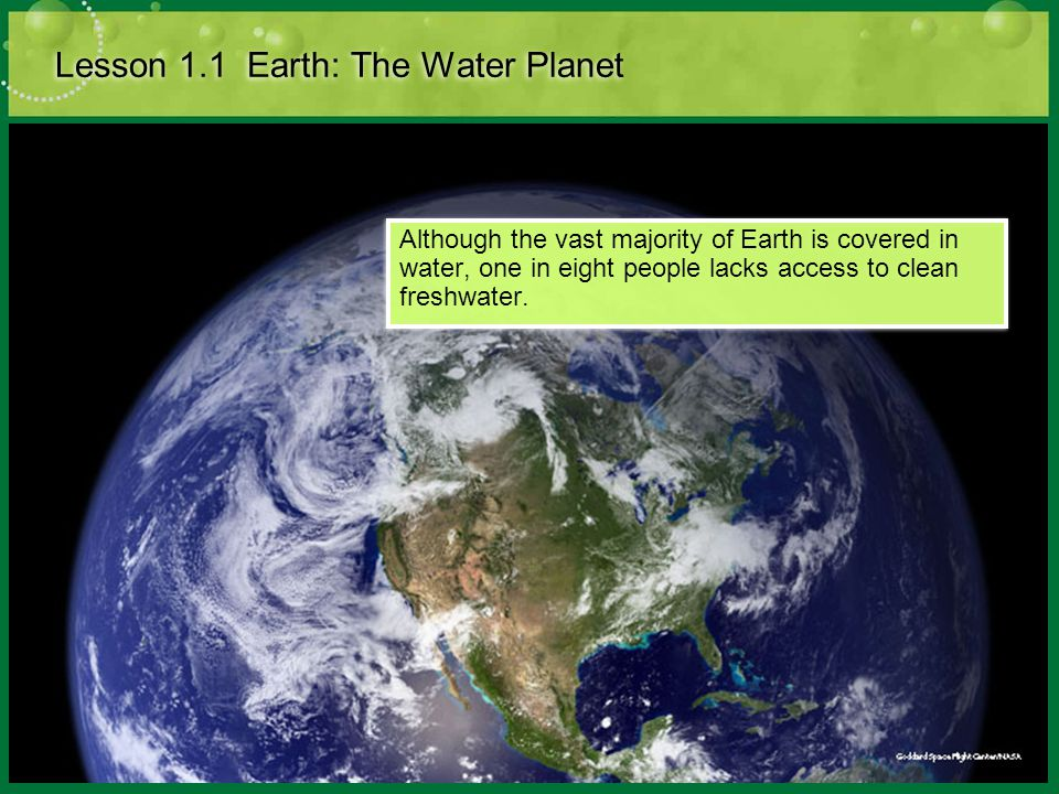 Lesson 1.1 Earth: The Water Planet