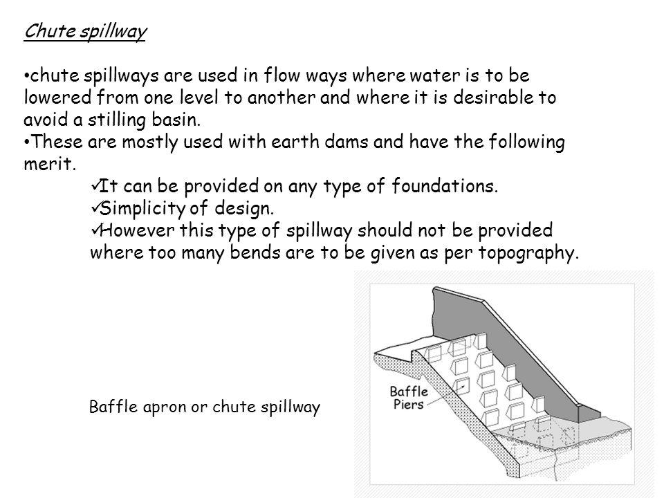 Baffle apron or chute spillway