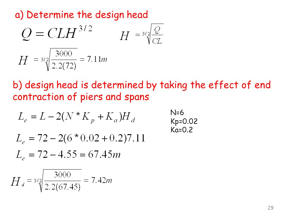 a) Determine the design head
