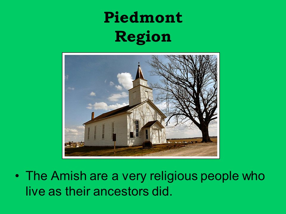 Piedmont Region The Amish are a very religious people who live as their ancestors did.