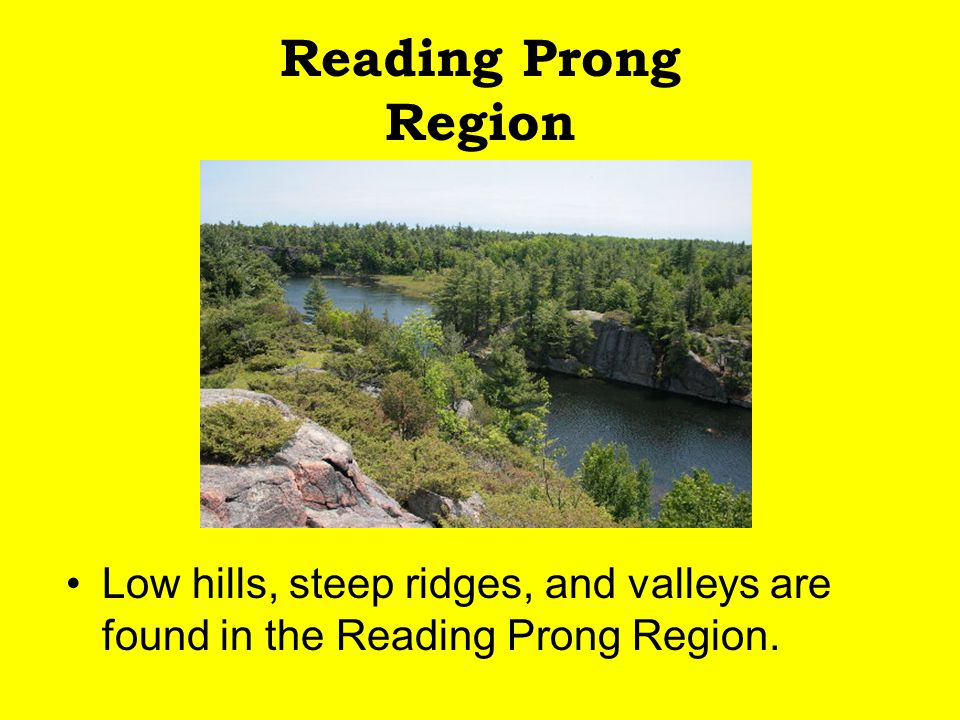 Reading Prong Region Low hills, steep ridges, and valleys are found in the Reading Prong Region.