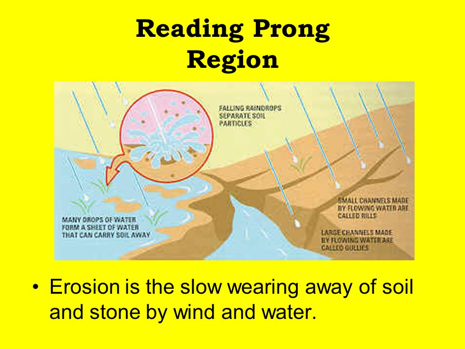 Reading Prong Region Erosion is the slow wearing away of soil and stone by wind and water.